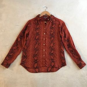 Vince Camuto Orange Snake Print Long Sleeve